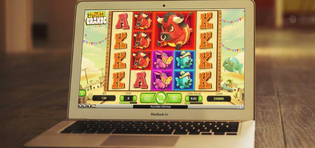 playing australian online slot on laptop
